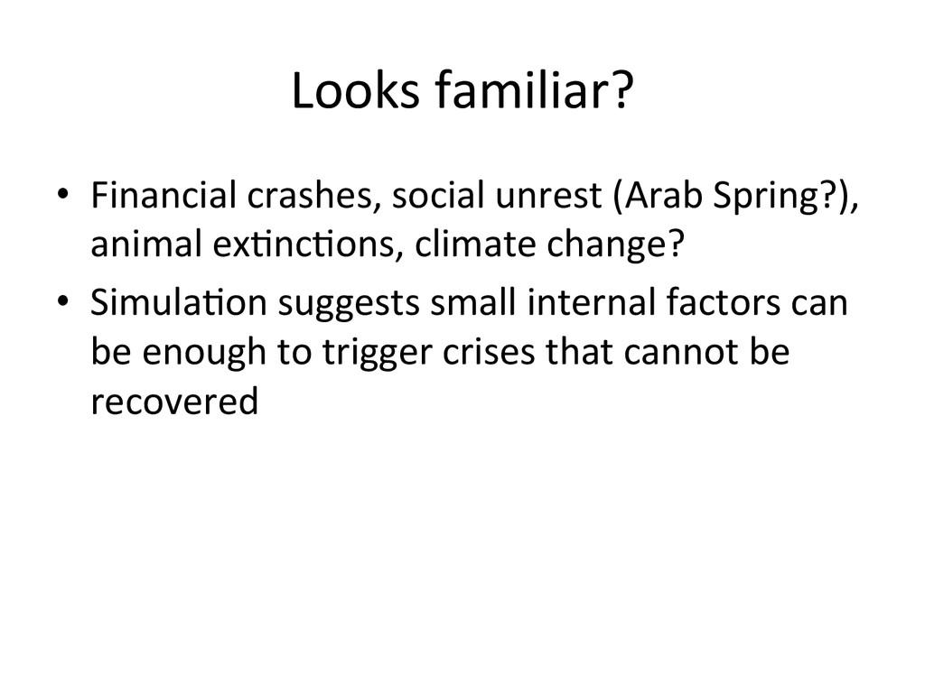 Looks familiar?  • Financial crashes,...