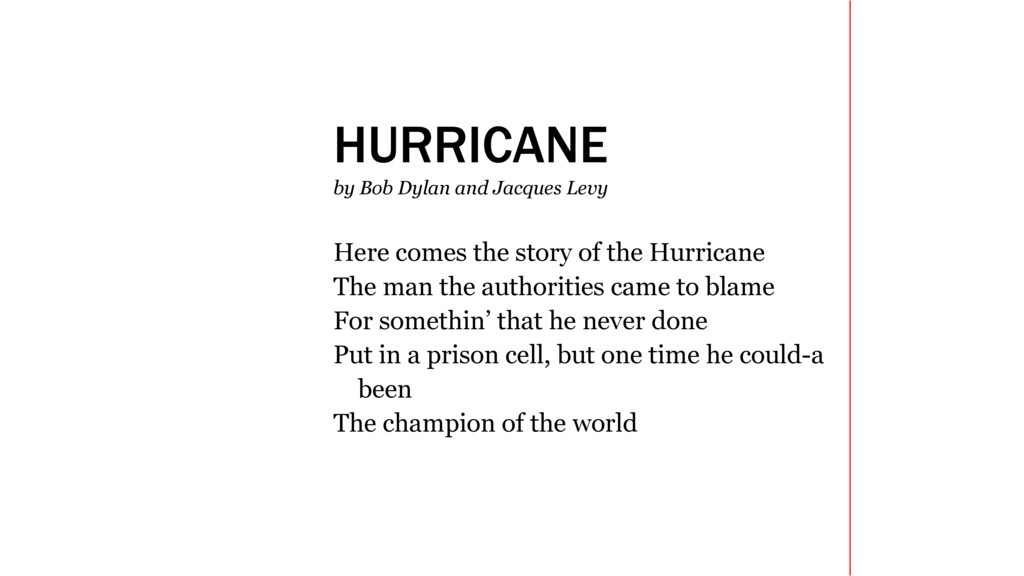 HURRICANE by Bob Dylan and Jacques Levy Here co...