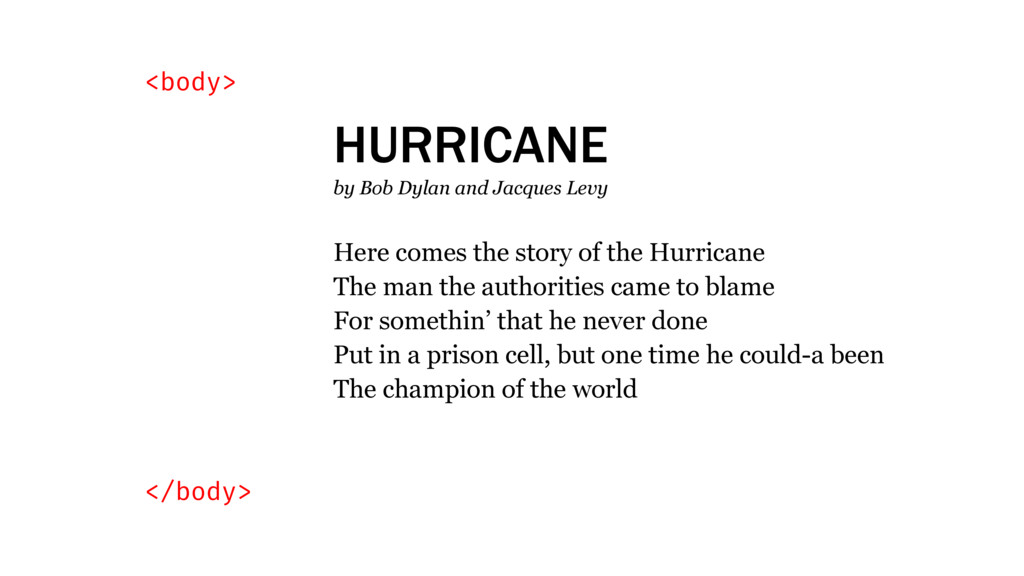 <body> </body> HURRICANE by Bob Dylan and Jacqu...