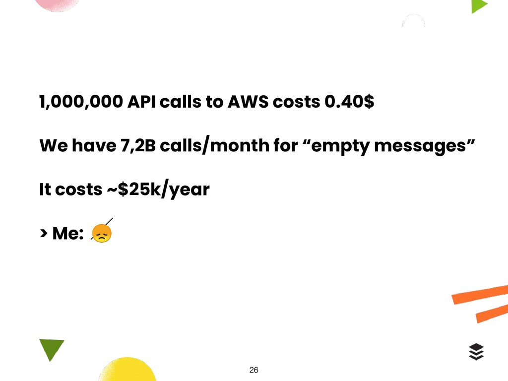 1,000,000 API calls to AWS costs 0.40$ We have ...