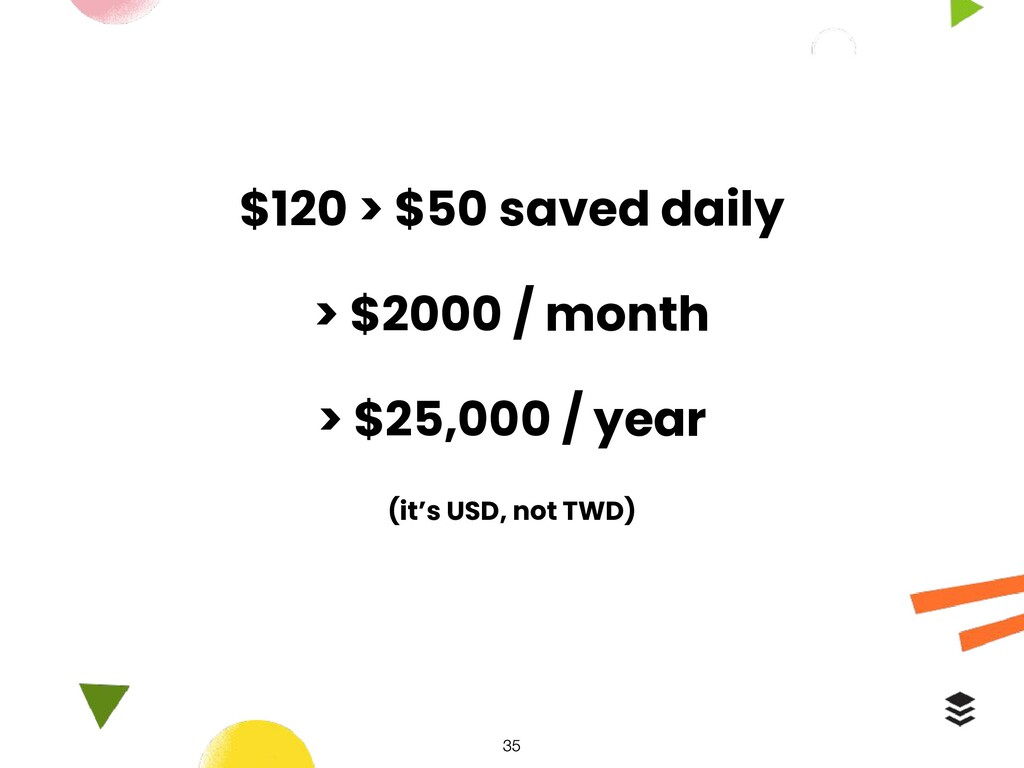 $120 > $50 saved daily > $2000 / month > $25,00...