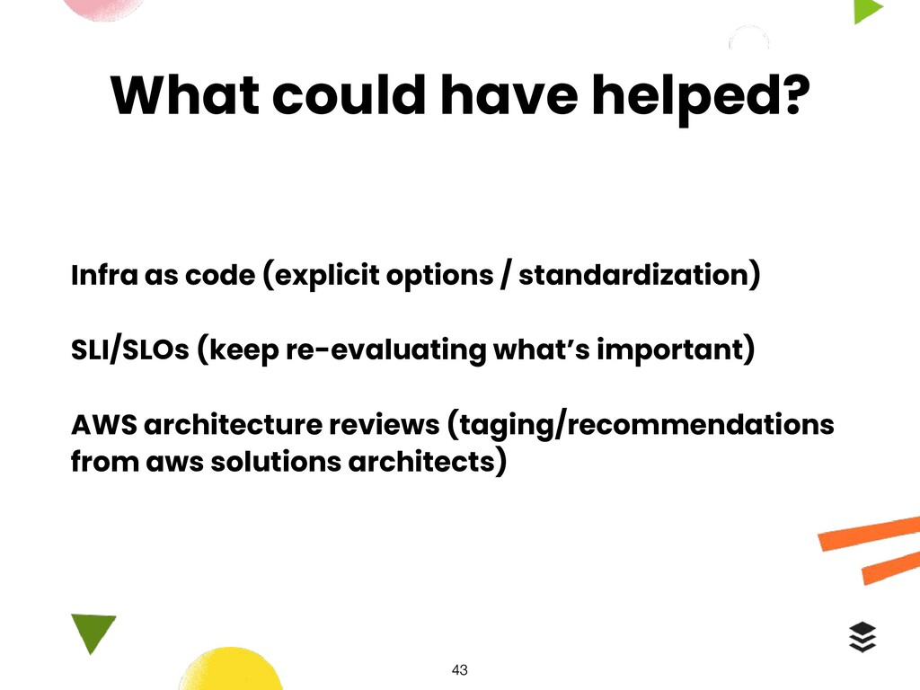 What could have helped? Infra as code (explicit...