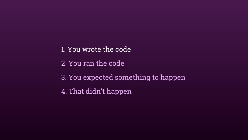 1. You wrote the code 2. You ran the code 3. Yo...