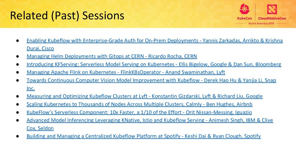 Related (Past) Sessions ● Enabling Kubeflow wit...