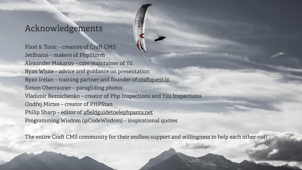 Acknowledgements Pixel & Tonic – creators of Cr...