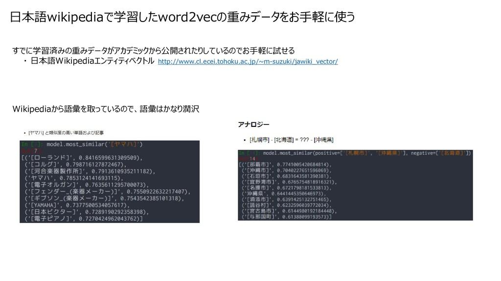 すでに学習済みの重みデータがアカデミックから公開されたりしているのでお手軽に試せる ・ 日本語...