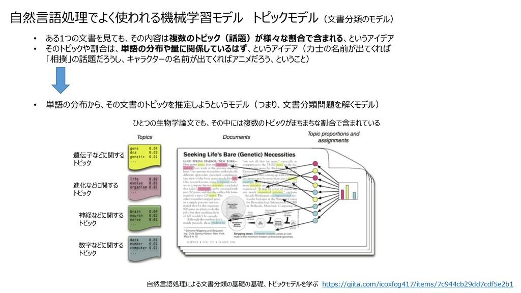 自然言語処理でよく使われる機械学習モデル トピックモデル(文書分類のモデル) • ある1つの文...