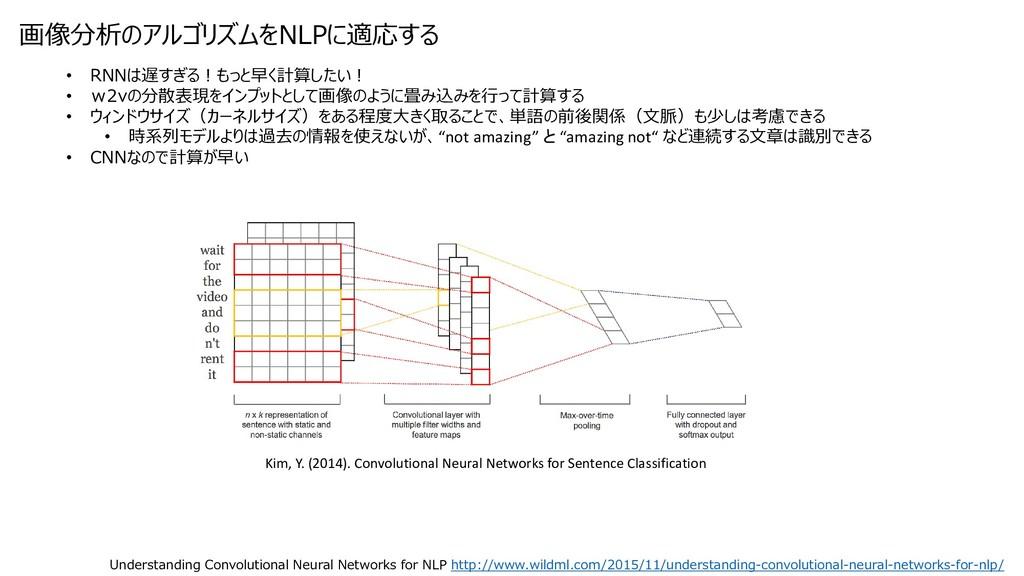 画像分析のアルゴリズムをNLPに適応する • RNNは遅すぎる!もっと早く計算したい! • w...