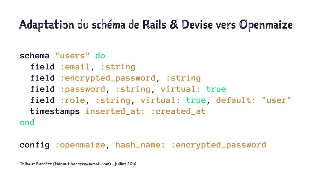 Adaptation du schéma de Rails & Devise vers Ope...
