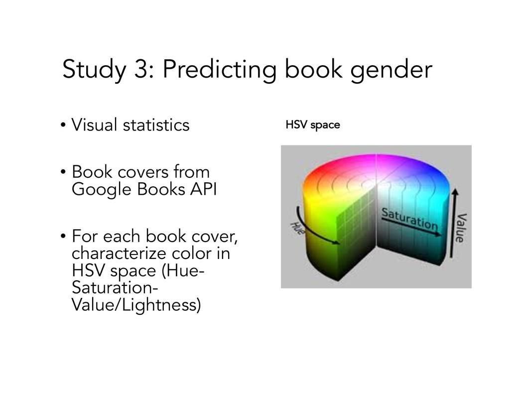 Study 3: Predicting book gender • Visual statis...
