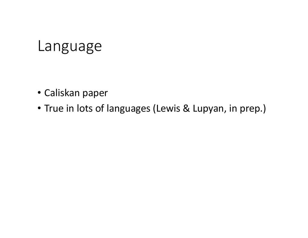 Language • Caliskan paper • True in lots of lan...