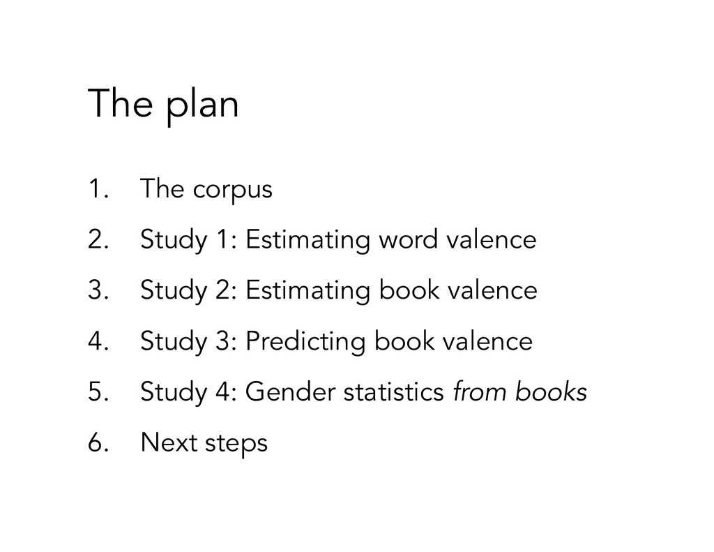 The plan 1. The corpus 2. Study 1: Estimating w...