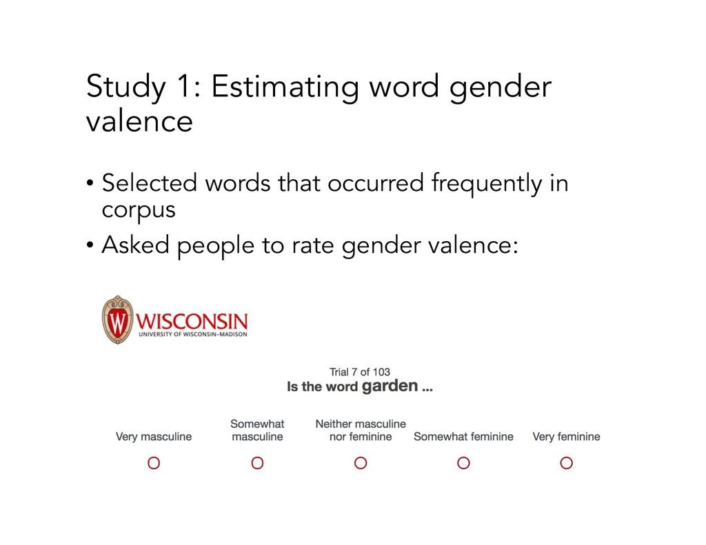 Study 1: Estimating word gender valence • Selec...