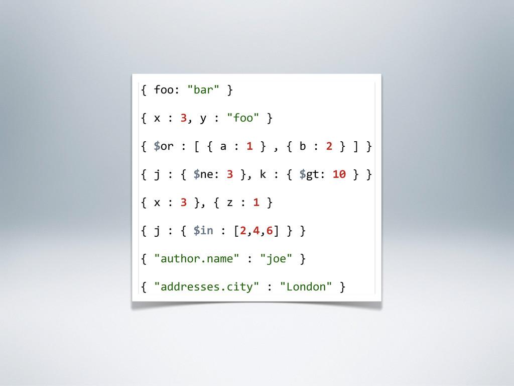 """{ foo: """"bar"""" } { x : 3, y : """"foo"""" } {..."""
