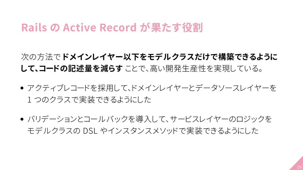 Rails の Active Record が果たす役割 次の方法で ドメインレイヤー以下をモ...