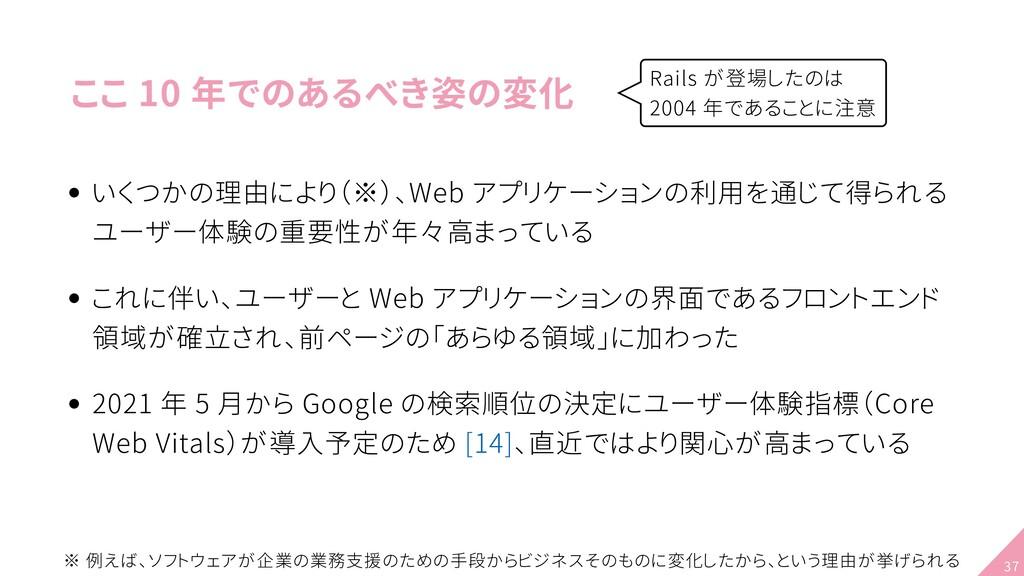 ここ 10 年でのあるべき姿の変化 いくつかの理由により(※)、Web アプリケーションの利用...