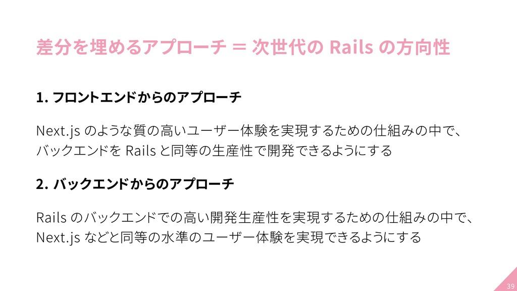差分を埋めるアプローチ = 次世代の Rails の方向性 1. フロントエンドからのアプロー...