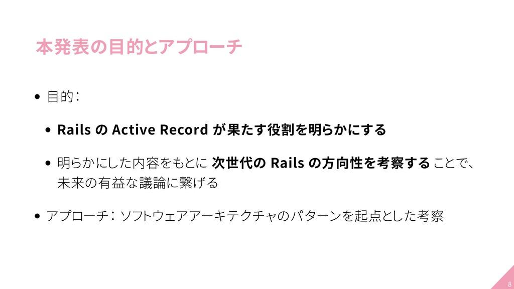 本発表の目的とアプローチ 目的: Rails の Active Record が果たす役割を明...