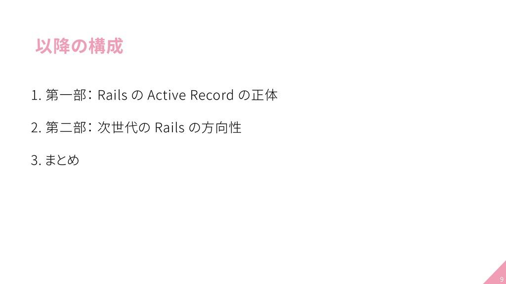 以降の構成 1. 第一部: Rails の Active Record の正体 2. 第二部:...