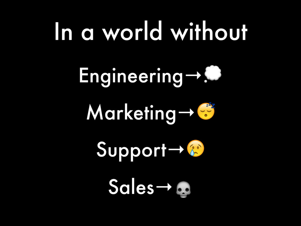 In a world without Engineering→ Marketing→ Supp...