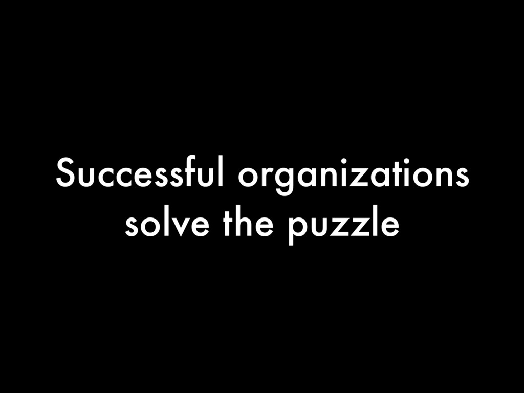 Successful organizations solve the puzzle