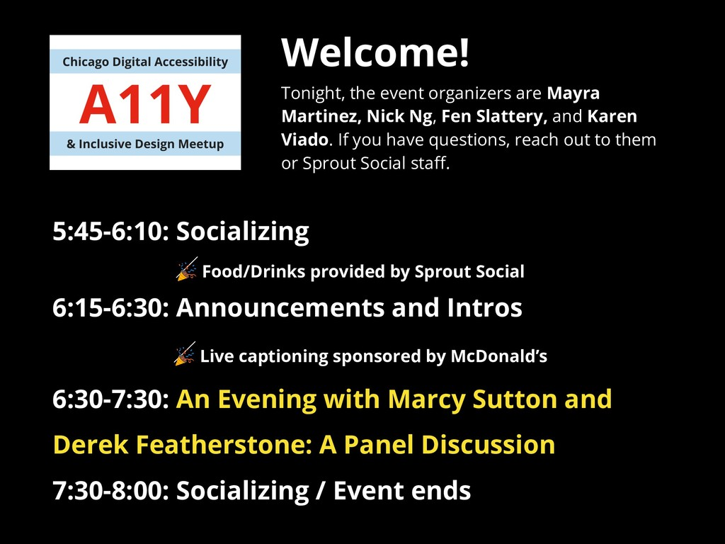 Welcome! Tonight, the event organizers are Mayr...