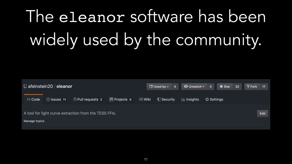 !17 The eleanor software has been widely used b...