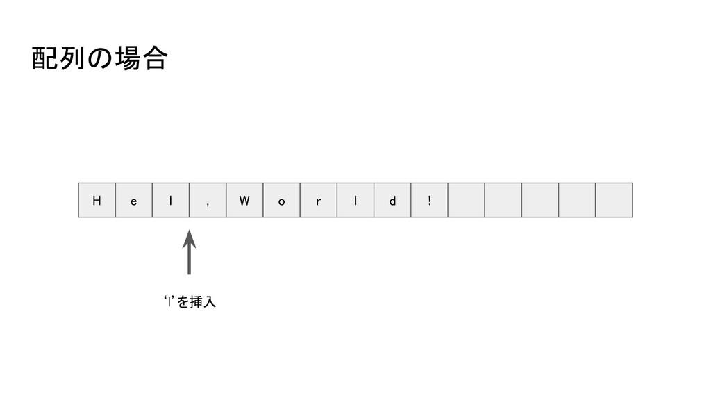 配列の場合 H e l , W o r l d ! 'l'を挿入