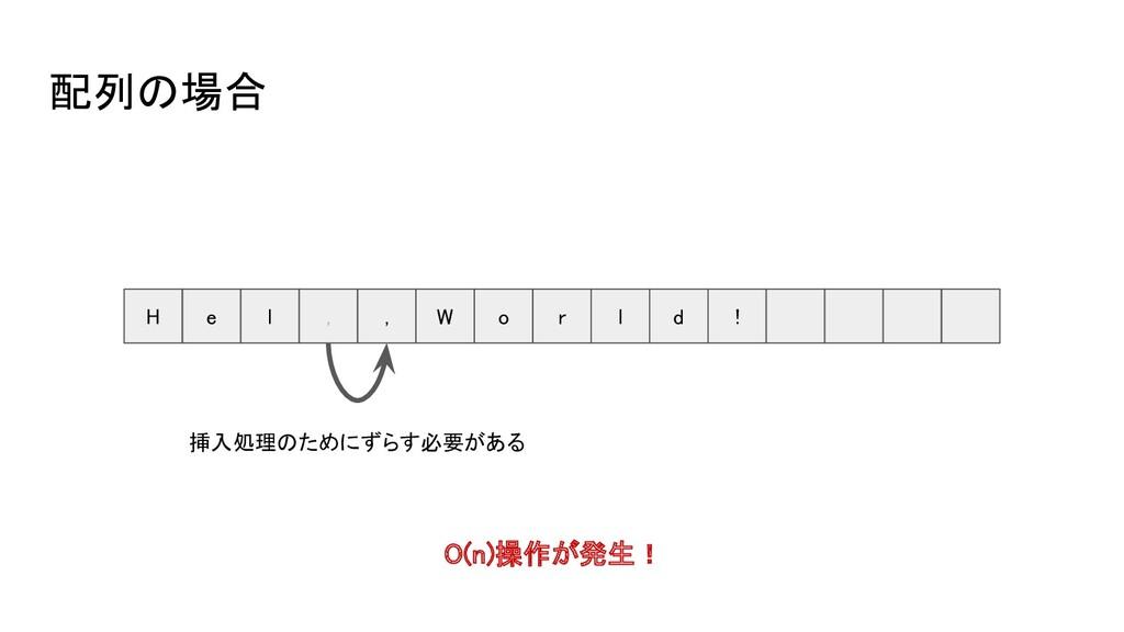 配列の場合 H e l , , W o r l d ! O(n)操作が...