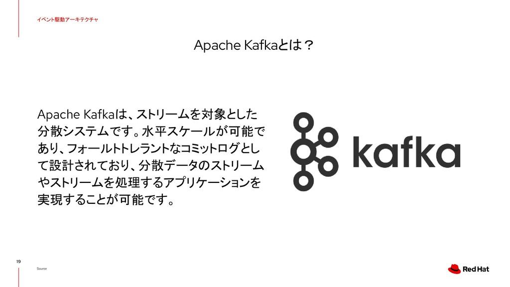 Apache Kafkaとは? 19 Apache Kafkaは、ストリームを対象とした 分散...