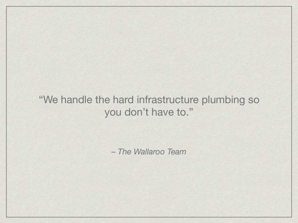 """We handle the hard infrastructure plumbing so ..."