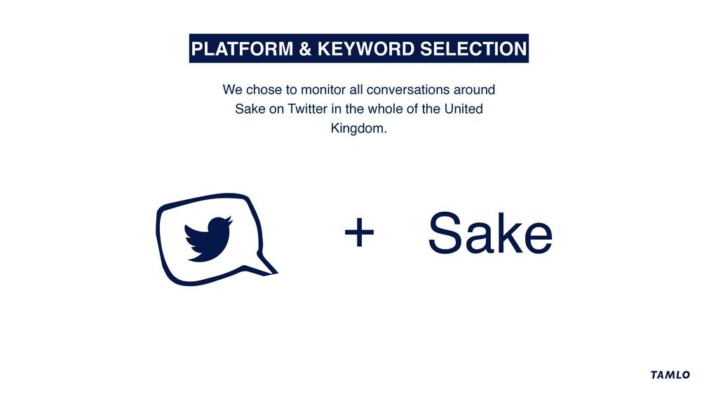 + Sake PLATFORM & KEYWORD SELECTION We chose to...