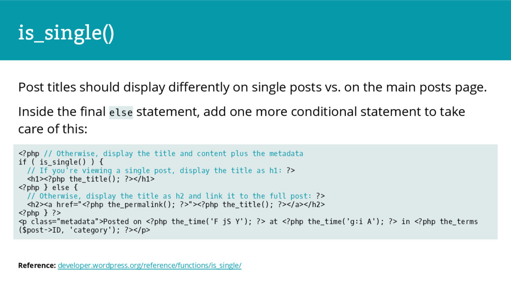 is_single() Post titles should display differen...