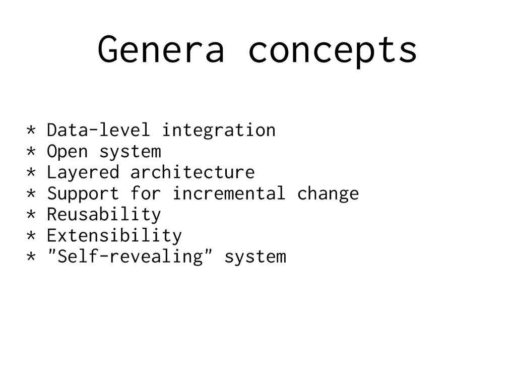 Genera concepts * Data-level integration * Open...