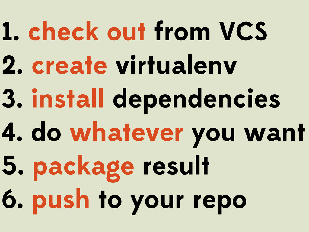 1. check out from VCS 2. create virtualenv 3. i...
