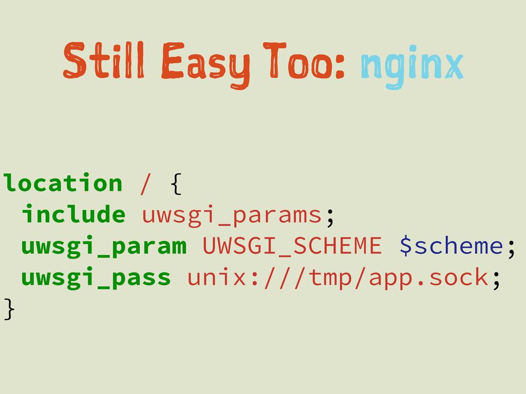 location / { include uwsgi_params; uwsgi_param ...