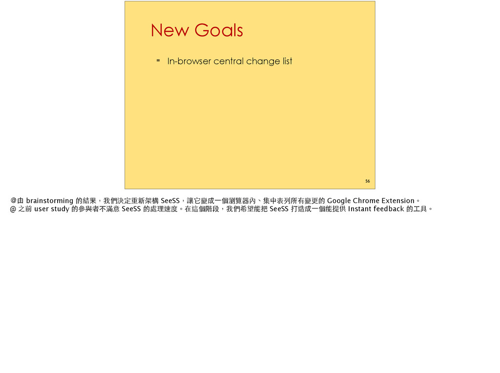 New Goals ≡ In-browser central change list 56 Ȅ...