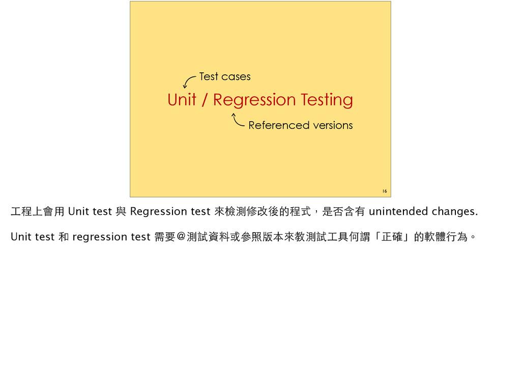 16 Unit / Regression Testing Test cases Referen...