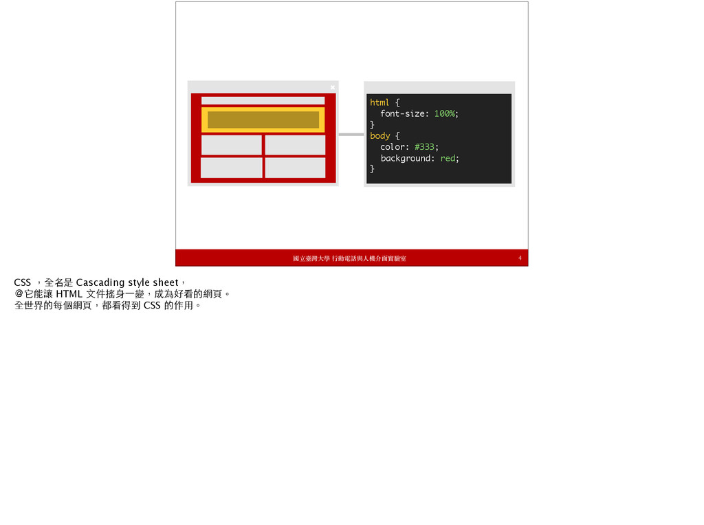 4 html { font-size: 100%; }...