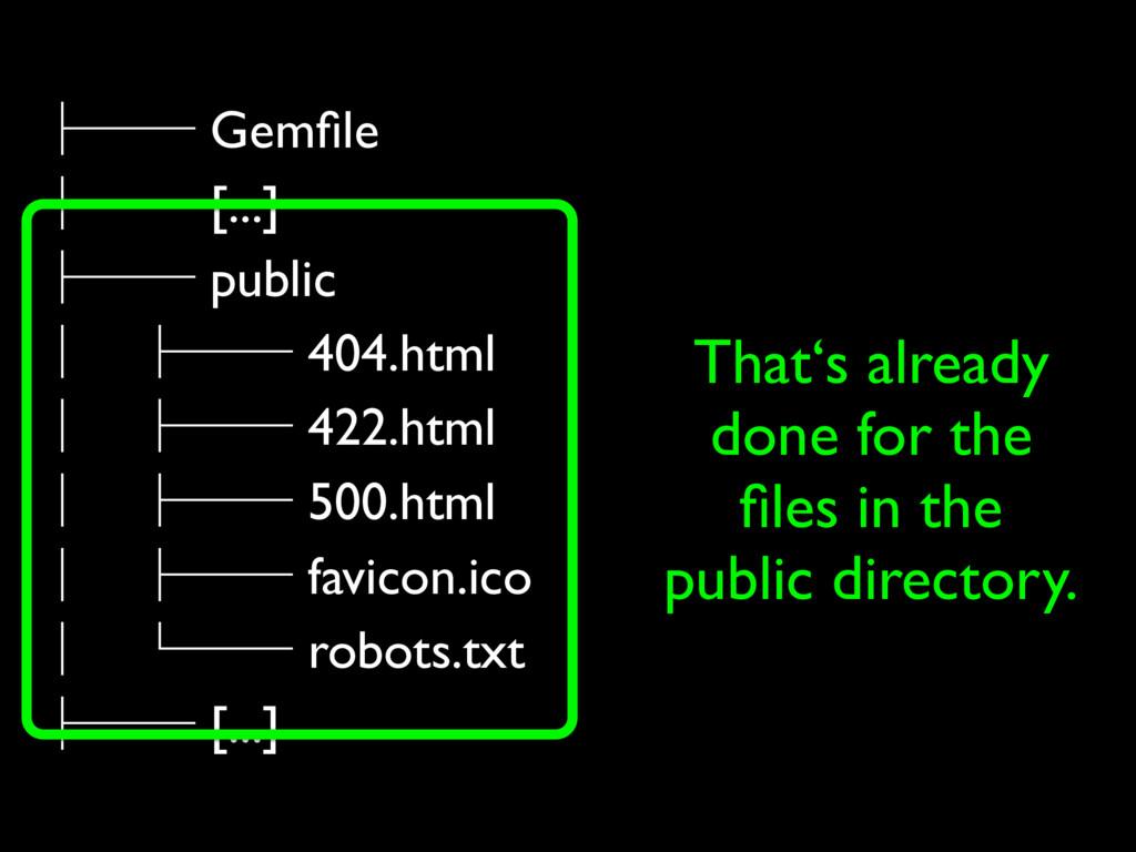 ├── Gemfile ├── [...] ├── public │ ├── 404.html ...