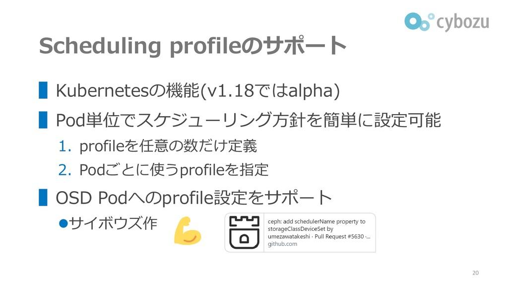Scheduling profileのサポート ▌Kubernetesの機能(v1.18ではa...