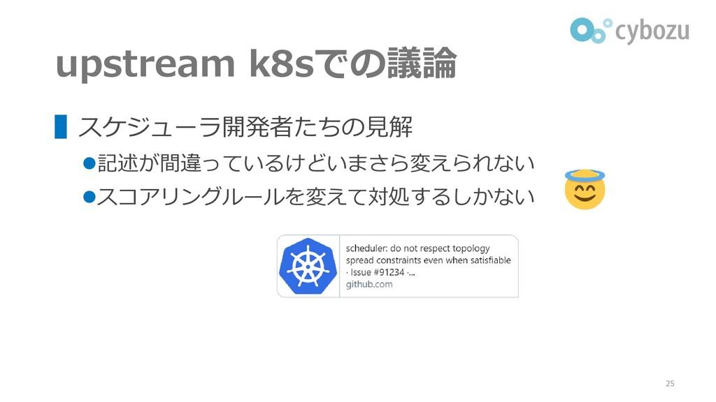 upstream k8sでの議論 ▌スケジューラ開発者たちの見解 ⚫記述が間違っているけどいま...