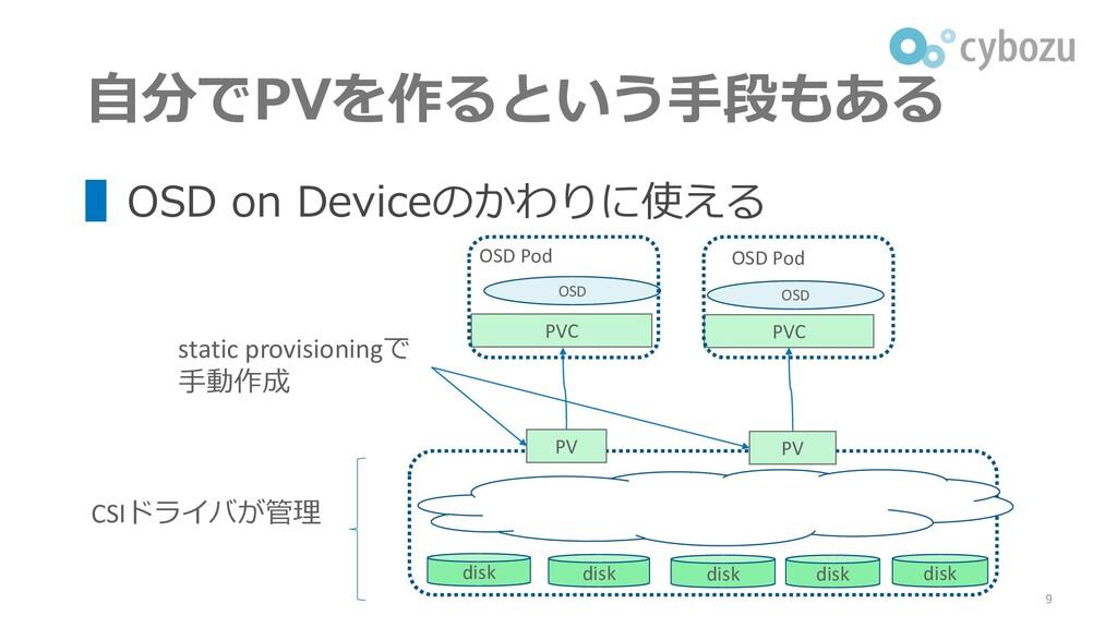 ▌OSD on Deviceのかわりに使える 自分でPVを作るという手段もある 9 PVC P...