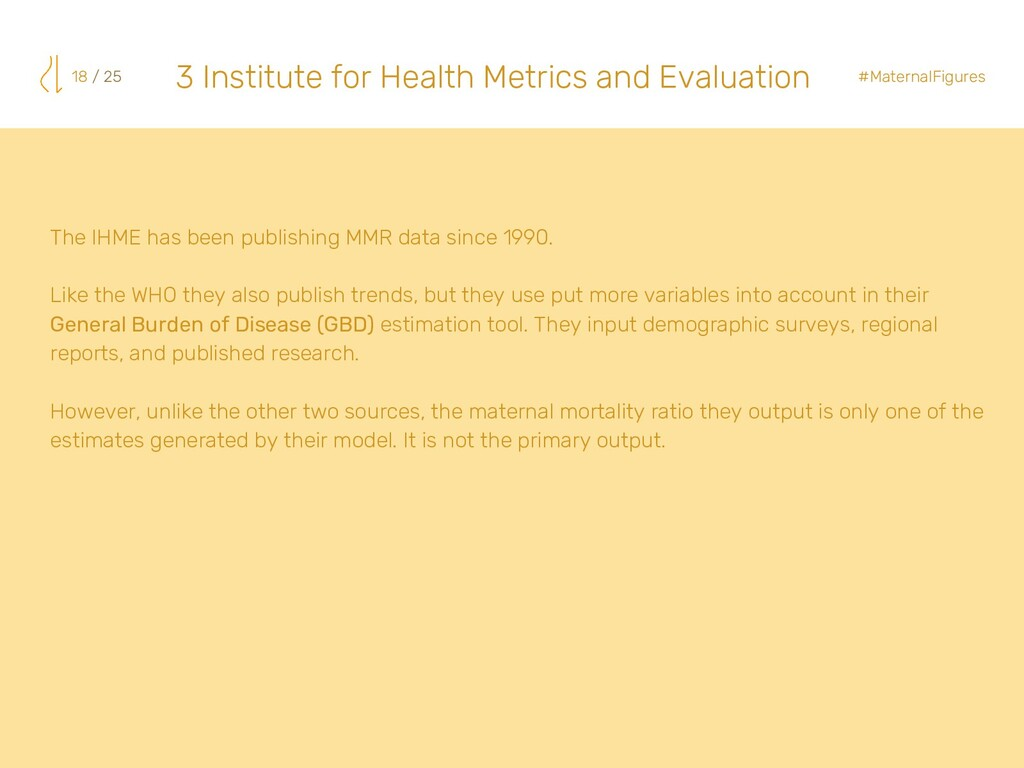 The IHME has been publishing MMR data since 199...