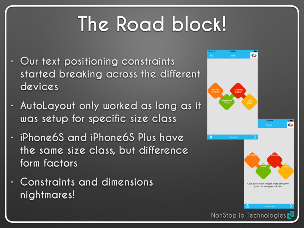 The Road block! • Our text positioning constrai...