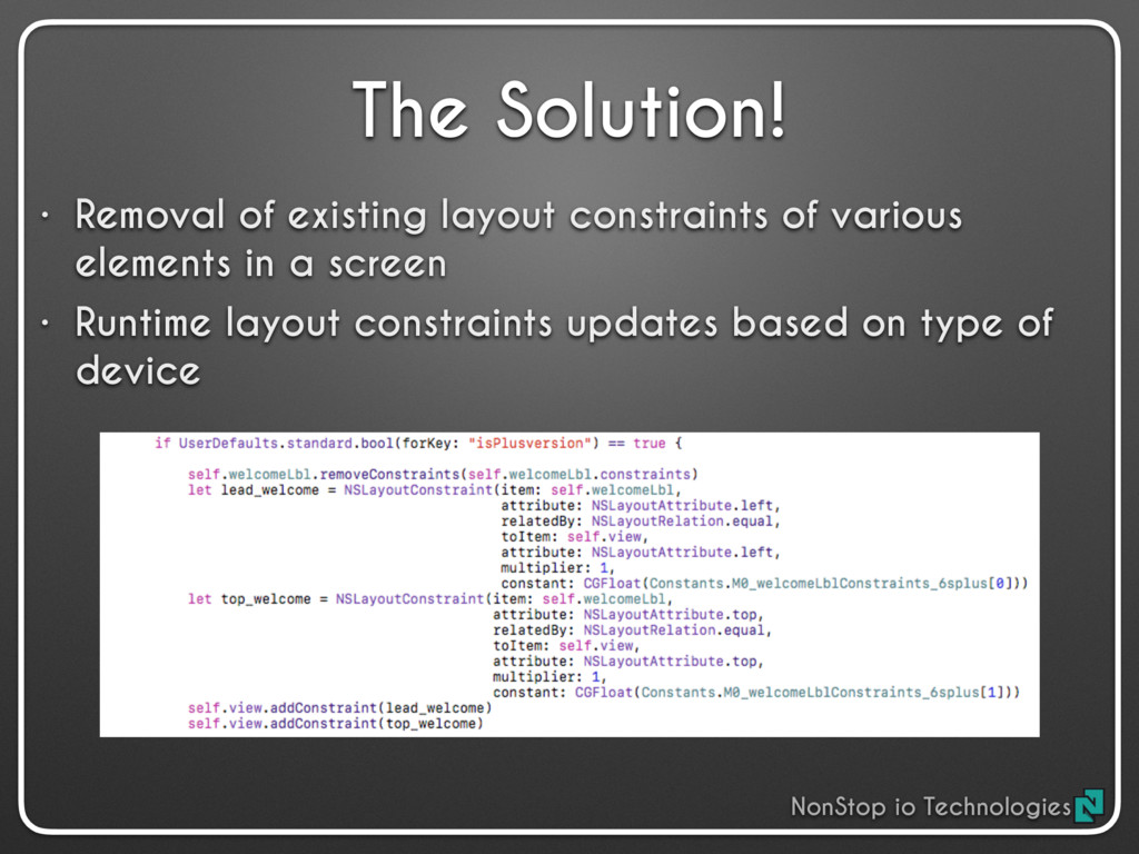 The Solution! • Removal of existing layout cons...