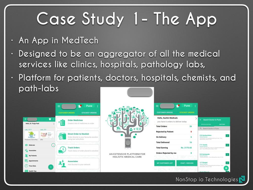 Case Study 1- The App • An App in MedTech • Des...
