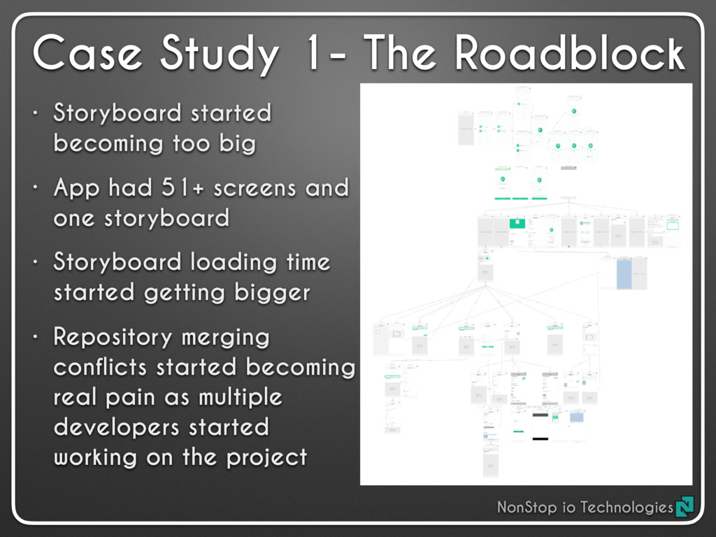• Storyboard started becoming too big • App had...