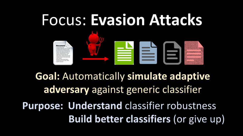 Focus: Evasion Attacks Goal: Automatically simu...
