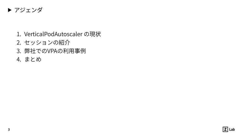 ▶ アジェンダ 1. VerticalPodAutoscaler の現状 2. セッションの...